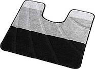 Набор ковриков для ванной и туалета на резиновой основе Hali Полосы 2шт 60х100 и 60х50см Серый с черным (6112), фото 3