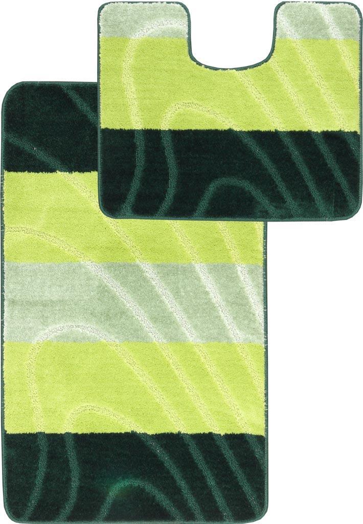 Набор ковриков для ванной и туалета на резиновой основе Hali Spring 2шт 50х80 и 50х40см Зеленый (6170)