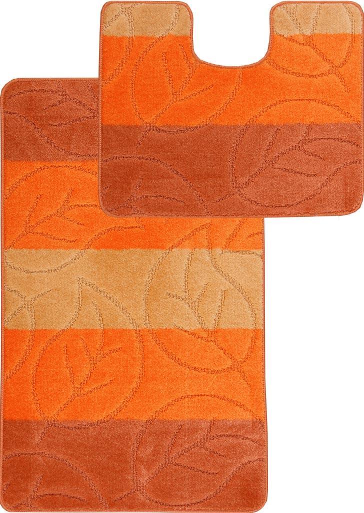 Набор ковриков для ванной и туалета на резиновой основе Hali Autumn 60х100 и 60х50см Оранжевый (6134)
