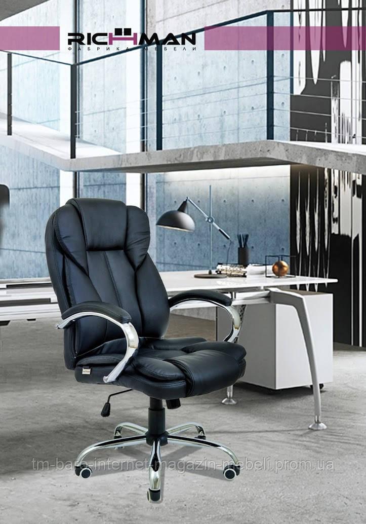 Кресло компьютерное Гранде, черный, кожзам, Richman