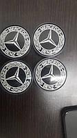 Колпачки в титановые диски Mercedes 55 мм V1 черные 3D (4 шт)
