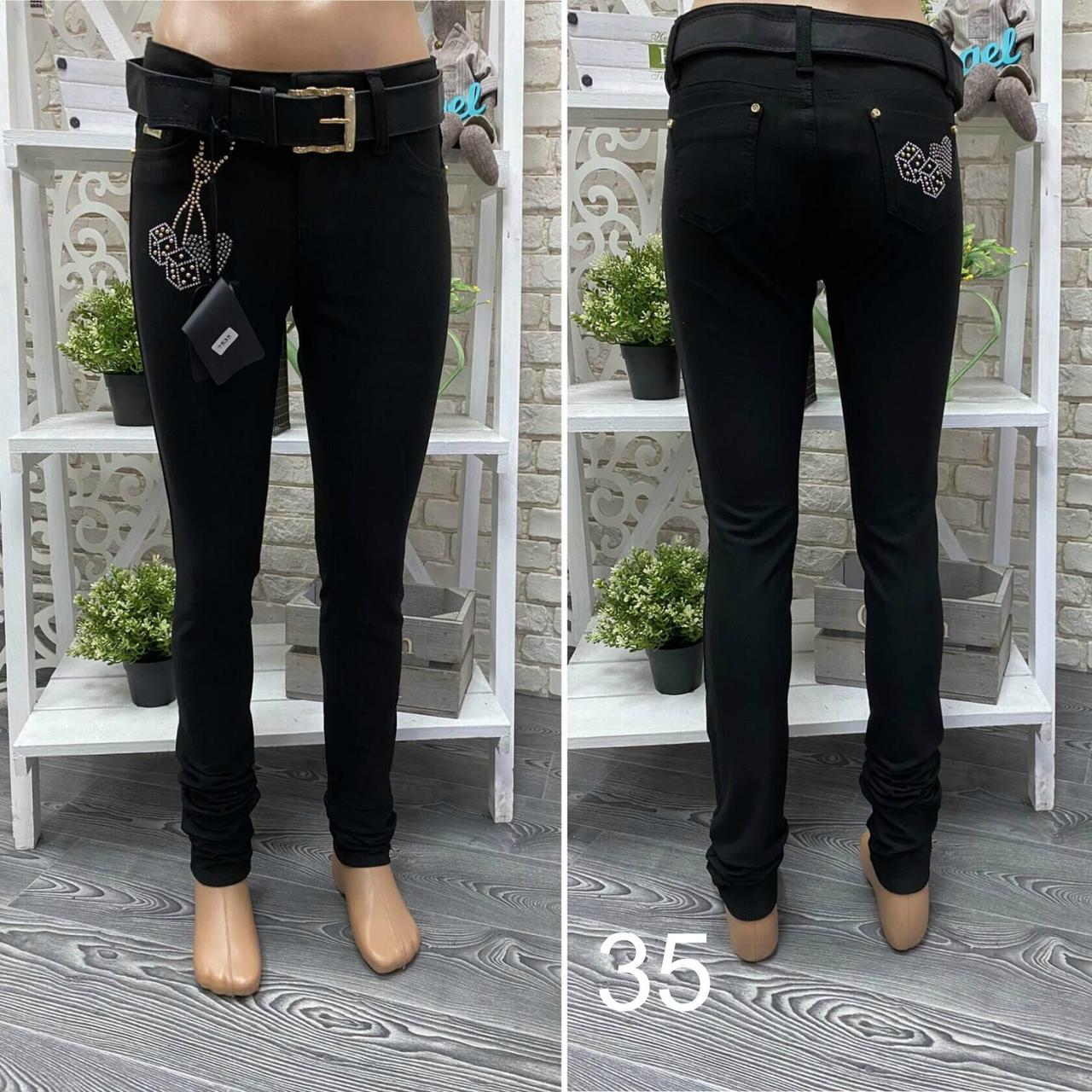 """Модные женские штанишки с аппликацией из страз, ткань """"Джинс"""" размер 27"""