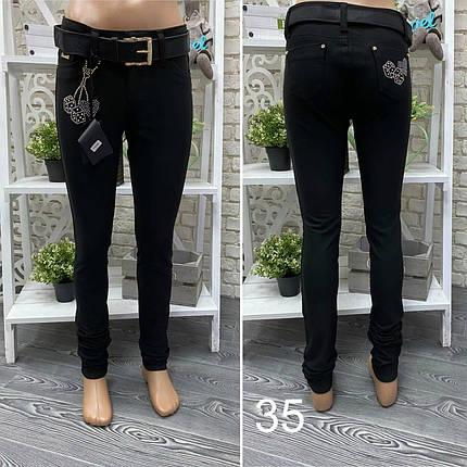 """Модные женские штанишки с аппликацией из страз, ткань """"Джинс"""" размер 27, фото 2"""