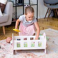 """Деревянная кроватка-люлька """"Соня"""" NestWood для Беби Борна и пупсов розовая, фото 2"""