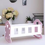 """Деревянная кроватка-люлька """"Соня"""" NestWood для Беби Борна и пупсов розовая, фото 3"""