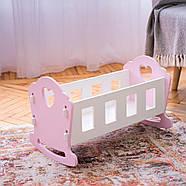 """Деревянная кроватка-люлька """"Соня"""" NestWood для Беби Борна и пупсов розовая, фото 5"""