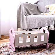 """Деревянная кроватка-люлька """"Соня"""" NestWood для Беби Борна и пупсов розовая, фото 6"""