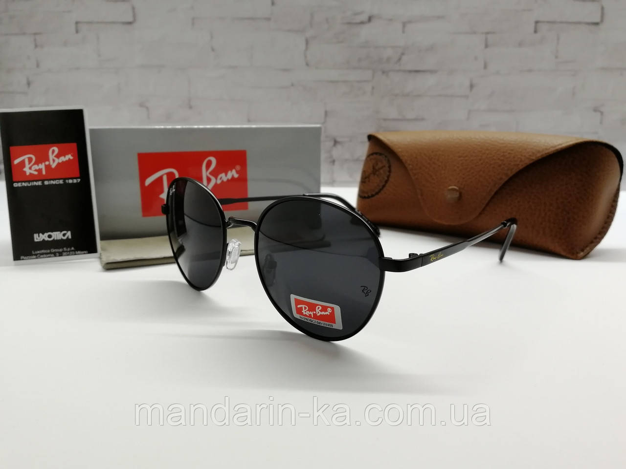 Солнцезащитные черные очки кругляши реплика