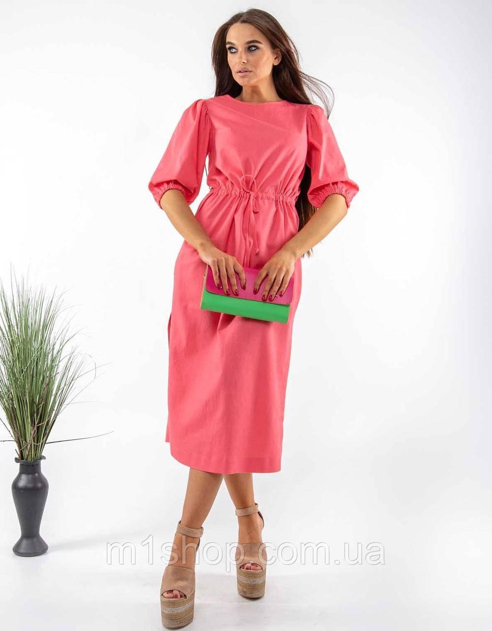 Льняное летнее свободное платье миди с кулиской на талии (Глоу ri)