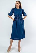 Льняное летнее свободное платье миди с кулиской на талии (Глоу ri), фото 3