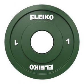 Олимпийский диск Eleiko для соревнований и тренировок 1 кг цветной 124-0010R  (ПРОФКА)