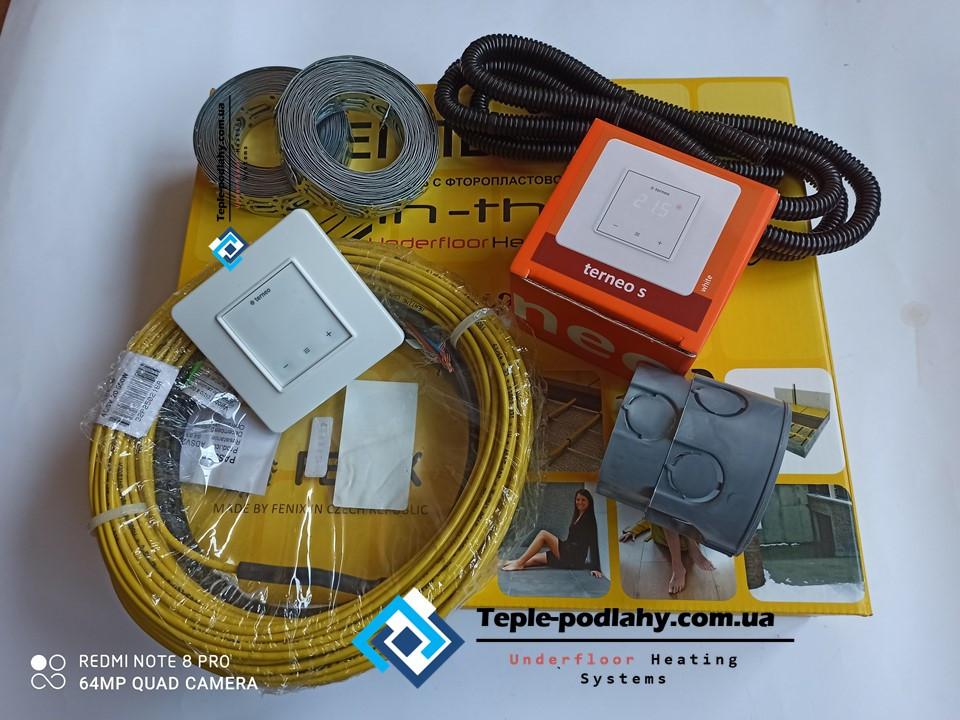 Нагревательный кабель сверхтонкий под кафель In-therm (Чехия) для пола, 2,7 м.кв (Серия Terneo S )