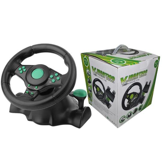 Игровой руль с педалями 3 в 1 Vibration Steering Wheel для PS3/PS2/PC | Универсальный руль для игр