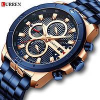 Часы наручные мужские женские кварцевые Curren 8337 Blue-Gold 1008-0169