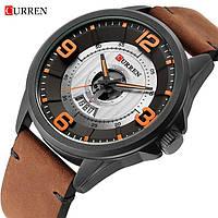 Часы наручные мужские женские кварцевые Curren 8305 Black-Brown 1008-0180