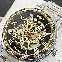 Часы наручные мужские женские скелетоны механика Winner 8012 Diamonds Automatic Silver-Black-Gold 1099-0025