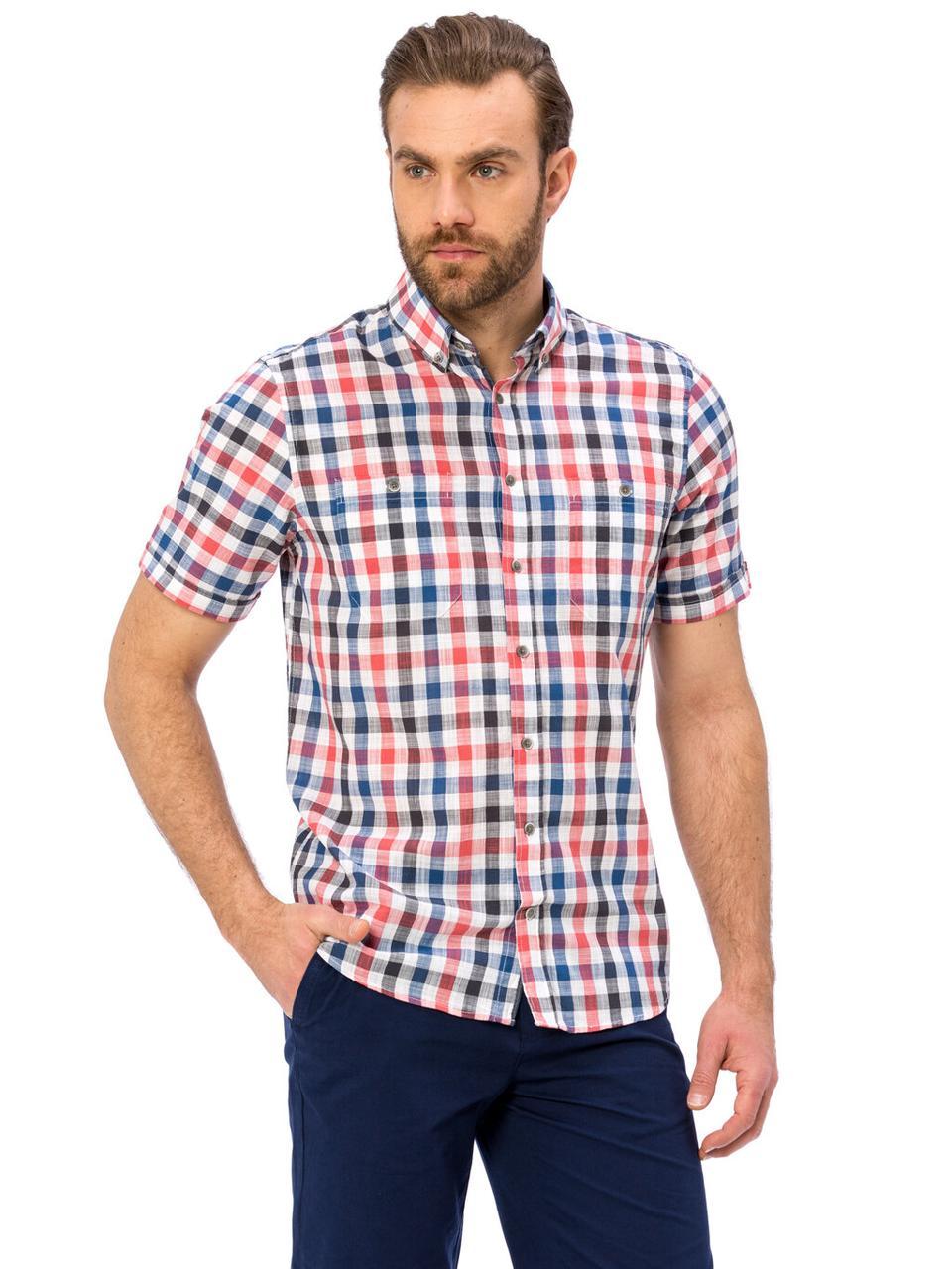 Белая мужская рубашка LC Waikiki / ЛС Вайкики в красно-синюю клетку, с карманом на груди