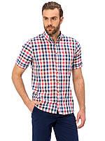 Белая мужская рубашка LC Waikiki / ЛС Вайкики в красно-синюю клетку, с карманом на груди, фото 1