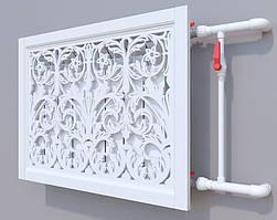 Декоративная решетка на батарею SMARTWOOD | Экран для радиатора | Накладка на батарею Покраска RAL, 600*600