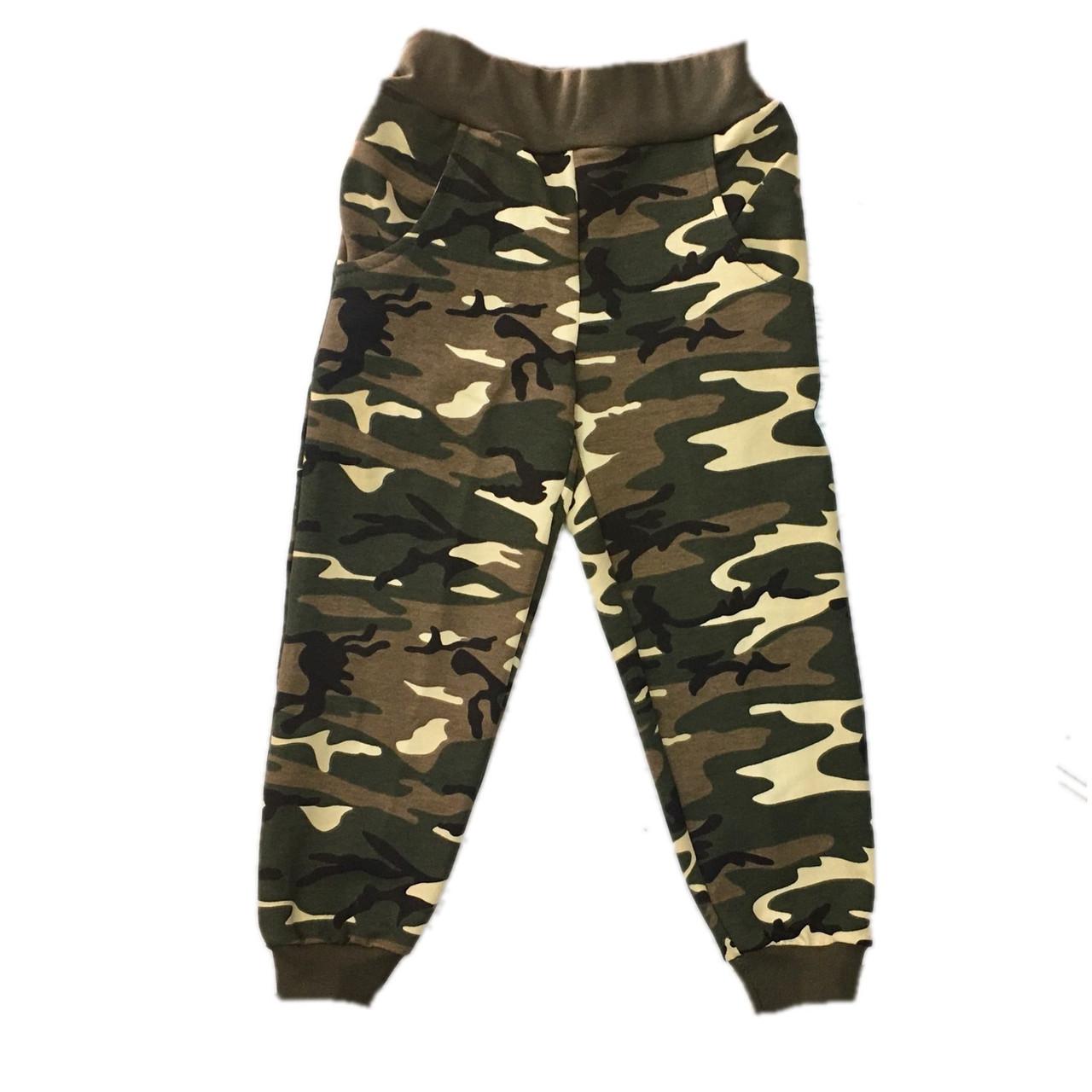 Спортивные штаны на мальчика, камуфляж, 134см