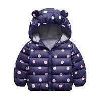 Куртка детская теплая для девочки Горошек