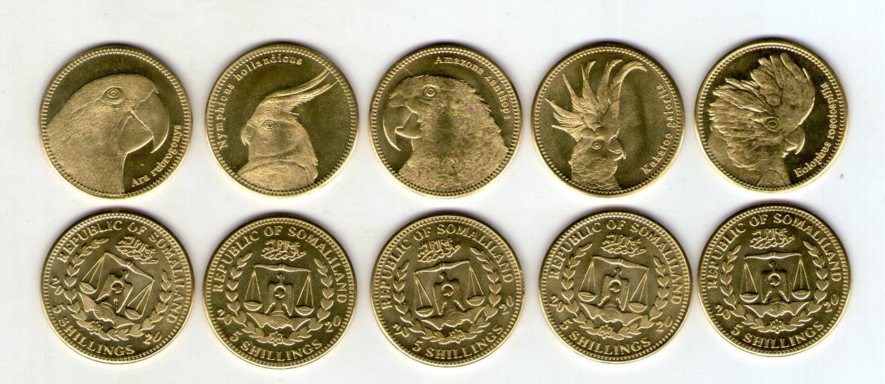 Сомалиленд 5 шиллингов 2020  набор из 5 монет.