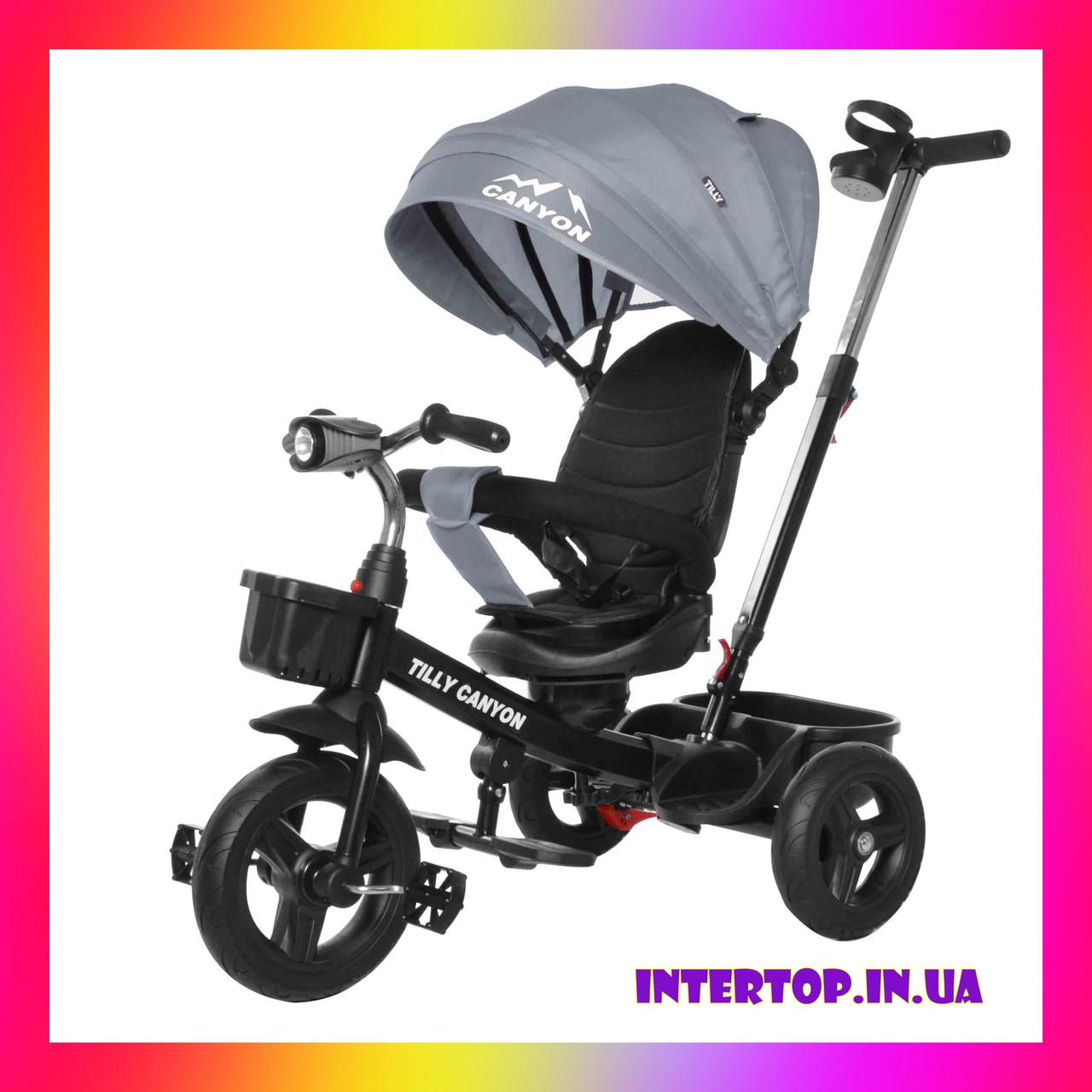 Детский трехколесный велосипед - коляска Велосипед трехколесный TILLY CANYON T-384 серый