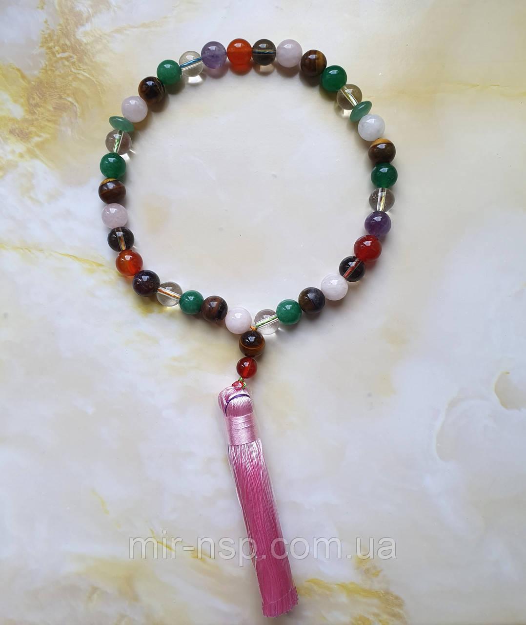 Четки 33 бусины разноцветные из натуральных камней 10 мм