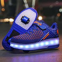 Роликовые кроссовки с LED подсветкой, синие на 2-х колесах, размеры 30-38 (LR 1228)