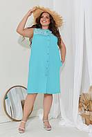 Женское платье из льна со вставками коттон макраме на пуговицах(48-58), фото 1