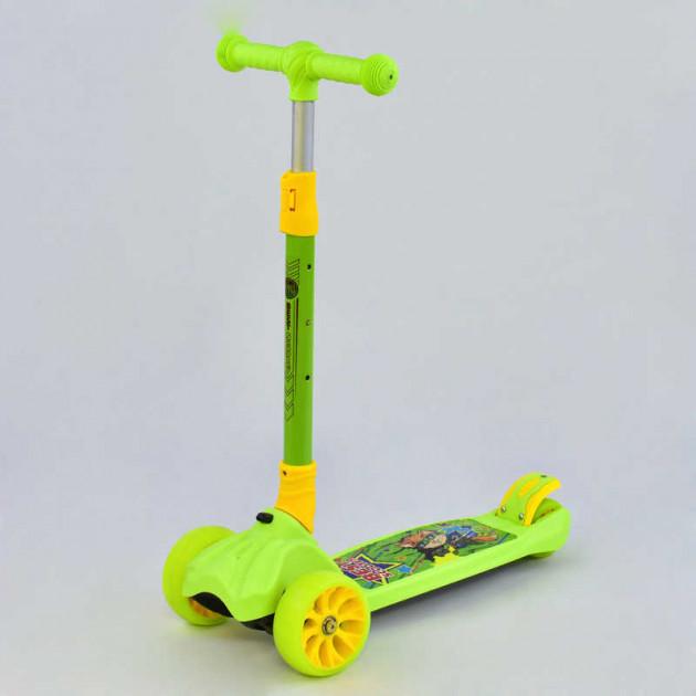Детский самокат трехколесный Best Scooter, MAXI, САЛАТОВЫЙ, колёса PU со светом