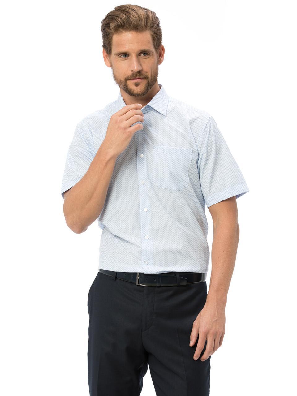 Белая мужская рубашка LC Waikiki / ЛС Вайкики с карманом на груди, с голубым принтом