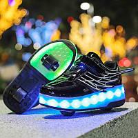 Роликовые кроссовки с LED подсветкой, черные на 2-х колесах, размеры 30-38 (LR 1230)