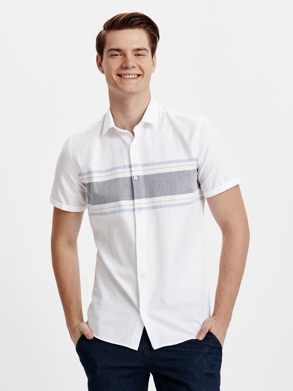 Белая мужская рубашка LC Waikiki / ЛС Вайкики с серой полосой на груди