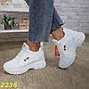 Сникерсы кроссовки на платформе с танкеткой белые фила