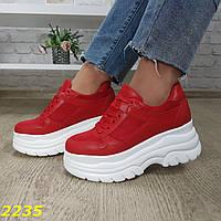 Кроссовки красные на высокой платформе буффало, фото 1