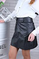 Стильная детская юбка из эко-кожи на рост 134-164, фото 1