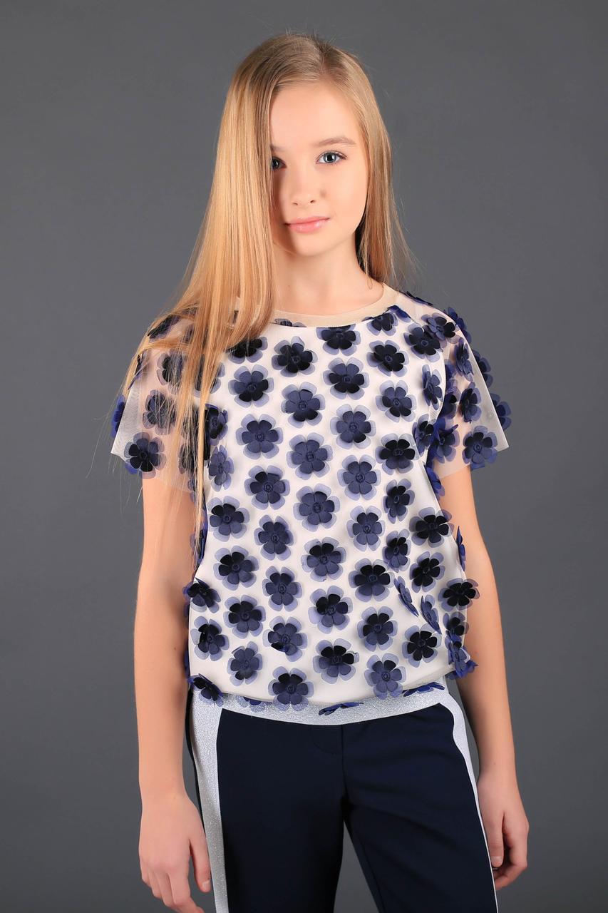 Блузка с цветочками тм Моне  р-р 122,128,134,140
