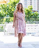 Женское платье стильное с ткани софт в цветочный принт, короткое(44-52), фото 1