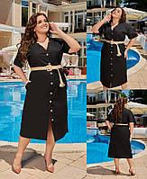 Женское платье стильное с коттона Турция,с поясом в комплекте(48-58), фото 1