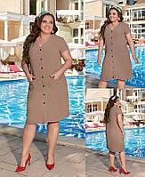 Жіноче плаття стильне з льону однотонне з кишенями(48-58), фото 1