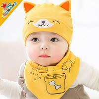 Детская шапка + хомут Cat для малыша
