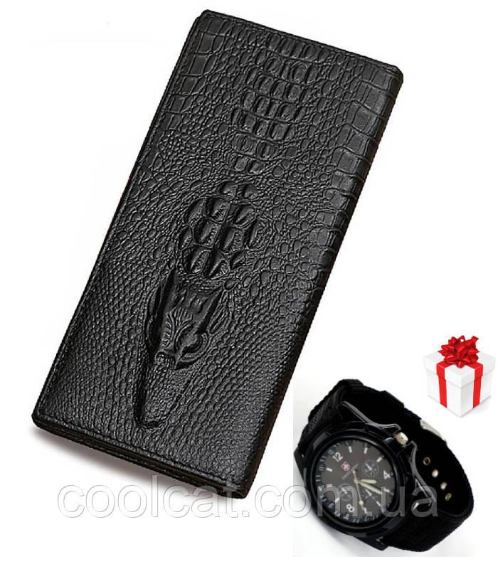 Мужской клатч кошелек портмоне Aligator + Подарок Часы (20 х 11 х 3 см)