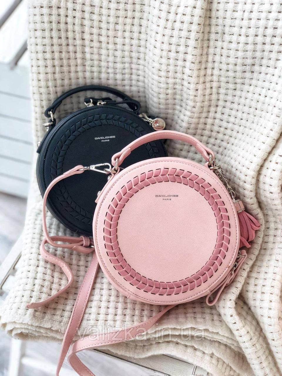 Сумка круглая с плетенкой кросс-боди David Jones женская весення сумочка черная