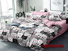 Двуспальный набор постельного белья 180*220 из Сатина №8015AB Черешенка™