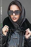 Женская косынка - капюшон на меху  на пуговице цвет черный, фото 2