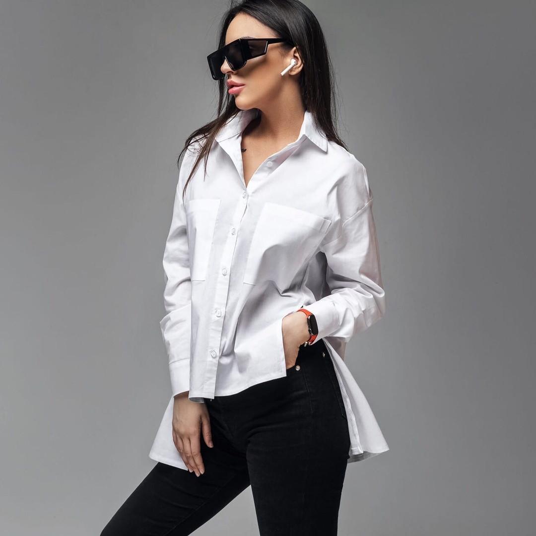 Офисная  рубашка из поплина размеры: S, M, L. цвет белый