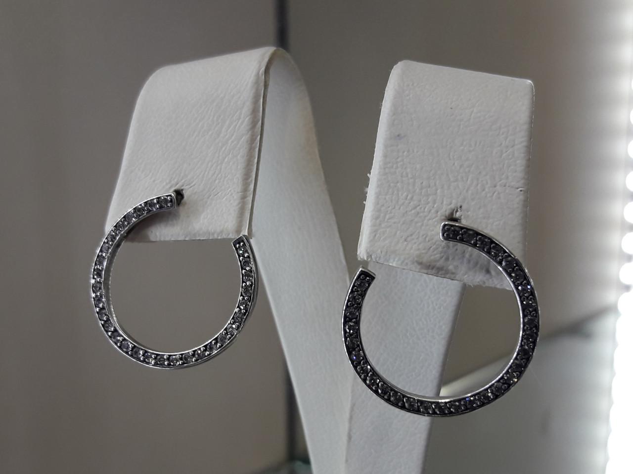 Срібні сережки-гвоздики з цирконієм