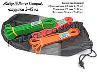 """Резина набор 2кг-45кг """"X-Power Compact"""" (3-и резиновые петли) для тренировок, фитнеса, кроссфита, подтягиваний"""