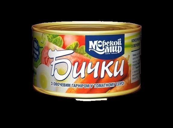 """Рибна консерва бички """"Морской мир"""" 240г в томатному соусі з овочевим гарніром"""